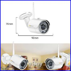 1080P 4CH 12' LCD NVR Wireless Security Camera System kit Outdoor WiFi 1TB 2MP