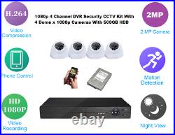1080p 4 Channel DVR Security CCTV Kit with 4 Dome x 1080p Cameras WIth 500GB HDD