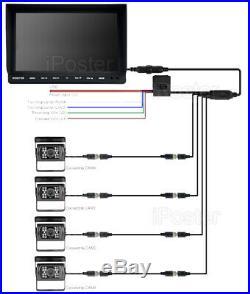 10.1 Quad Monitor Split screen HD CCD Reversing Camera 12V 24V 4 Package Kit