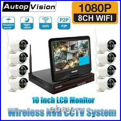 10 Wireless Monitor 4/8CH CCTV DVR Kit WIFI iP Camera NVR Security System Lot