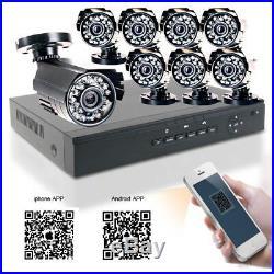 1200TVL 1080N 8CH DVR HDMI Night Vision CCTV Camera Outdoor H. 264 Security Kit