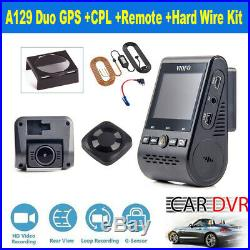 140° Viofo A129 Duo Front & Rear GPS Car Dash Cam + CPL + Hard Wire Kit + Remote