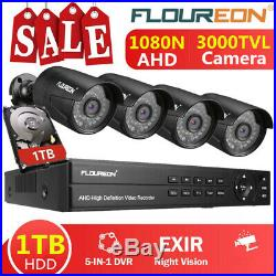 1TB HDD 8CH 1080N AHD DVR Kit Outdoor 3000TVL 1080P Camera Security System IP66
