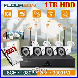 1TB HDD+8CH Wireless 1080P CCTV NVR Outdoor 1080P IP Camera Security System Kit
