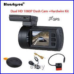 1.5 inch TFT 0906 Dual HD 1080P Lens Car Dash Camera GPS DVR Cam + Hard Wire Kit
