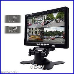 24V 12V 4 CCD Reversing Side View Camera 4-PIN 7 Split QUAD Monitor Caravan Kit