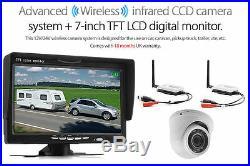 24V 12V Wireless Dome IR CCD Reversing Parking Camera + 7 Monitor Motorhome Kit