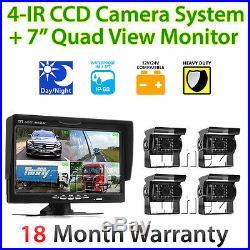 24V Waterproof 4 CCD Reversing Parking Camera 4Pin 7 Monitor Caravan Truck Kit