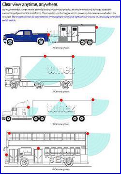 24V Waterproof 4 CCD Reversing Parking Camera 4Pin 9 Monitor Caravan Truck Kit
