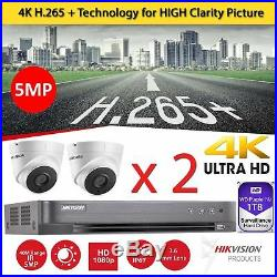 2 x Hikvision CCTV HD 1080P 5MP Night Vision40m DVR Home Security System Kit 1TB