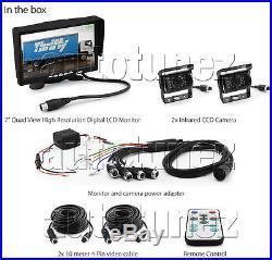 2 x Waterproof CCD Reversing Camera 4Pin + 7 Monitor Caravan Rear View Kit 24V
