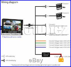 2 x Waterproof CCD Reversing Camera 4Pin + 9 Monitor Caravan Rear View Kit 24V