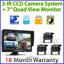 3x Waterproof CCD Reversing Camera 4PIN 7 LCD Monitor Truck Bus Rear View Kit