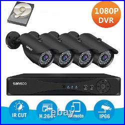 4CH 1080P DVR+4x2MP HD Home Outdoor Security CCTV Camera System with Hard Drive