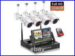 4CH 7''NVR HD 1080P IP Wireless CCTV Security Camera System IR Outdoor Kit Home
