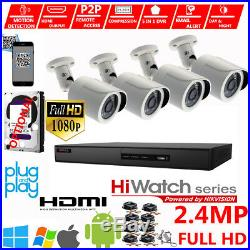 4CH Hikvision CCTV HD 1080P 2.4MP Night Vision Outdoor Home Security System Kit