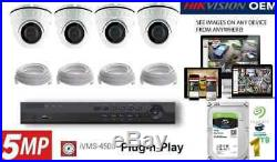 4CH NVR PoE 4K OEM Hikvision Security Surveillance 5MP IP Camera Kit Package