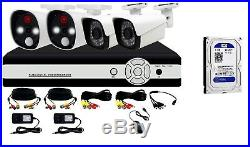 4CH Smart PIR Alarm Night Vision CCTV KIT with1TB Hard Drive, facial recognition