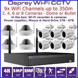 4K 8MP, 5 MP, 2MP CCTV Wi-Fi Kit Bundle up to 350m Dome or Bullet IR Cameras