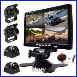 4PCS Car Reversing Camera +7 Quad Split Monitor Rear View Kit For Bus RV Track