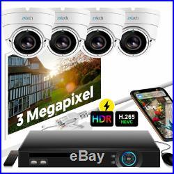 4 Zxtech Night Vision 3MP Defog IR Cut Camera 9 CH H. 265 PoE DVR DIY UK CCTV Kit