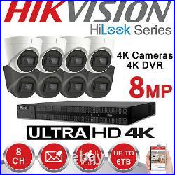 4k Cctv System Hikvision 8mp Uhd Dvr 8ch Outdoor VIVID Hd Camera Security Kit Uk