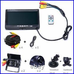 4x Car Reversing Camera + 7 Quad Split Monitor Truck Bus Van Rear View Kit