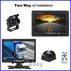 4x Reversing Camera + 7 4CH Monitor Car Rear View Kit For Bus Truck 10M Cable