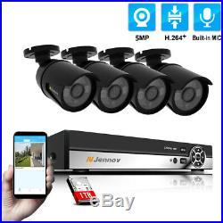 5MP 4CH NVR POE IP CCTV Security Camera System Kit Outdoor Audio IR Night Vision