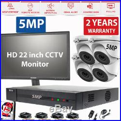 5MP CCTV Security System Kit With 4 NightVision Cameras + 1TB HDD + 22'' Monitor