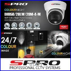 5MP CCTV System 4CH 8CH DVR Colour Night Audio Mic Camera HDMI Kit UK Trade SPRO