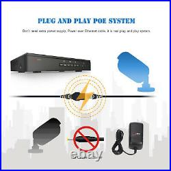 5MP PoE Security Camera System 8CH NVR Smart Home Kit 2TB HDD 724 Recording POE
