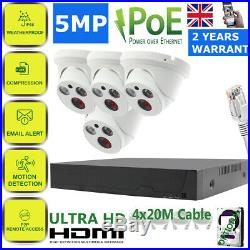 5MP UHD CCTV POE System 4CH 8CH NVR 40M Night vision Camera Home Security Kit