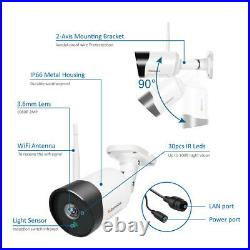 5MP Wireless CCTV Security Camera System Outdoor Home Wifi Surveillance 1TB Kit