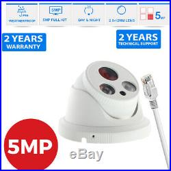 5mp Cctv System Ip Poe 4ch 8ch Channel Nvr Outdoor 40m Nightvision Camera Kit Uk