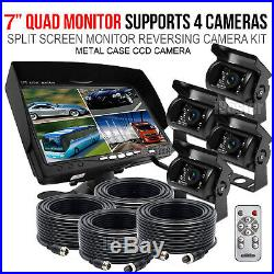 7 Quad Monitor 4x Rear View Camera For Truck Backup CCD Camera Split Screen Kit