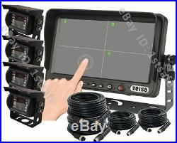 7 Split/quad Touch Screen Monitor, Rear View Reverse System Kit, 4 Wired Cameras