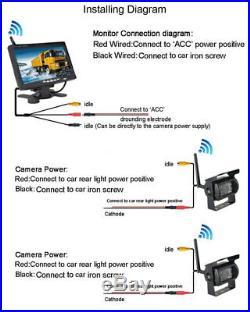 7 Wireless Rear View Kit HD Monitor + Truck Caravan Van RVs Dual Reverse Camera