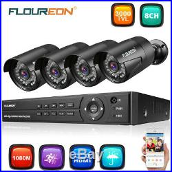 8CH 1080P AHD DVR Night Vision Outdoor 3000TVL 1080P 2MP Camera CCTV System Kit