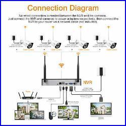 8CH 1080P Wireless CCTV Camera System H. 264 NVR Kit 1080P HD IP Cameras 1TB HDD