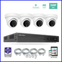 8CH 4K NVR PoE IP Security Camera System Kit with 2TB HDD and 4 Turret Cameras