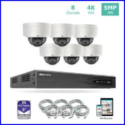 8CH 4K NVR PoE IP Security Camera System Kit with 2TB HDD and 6 Dome Cameras