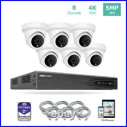8CH 4K NVR PoE IP Security Camera System Kit with 2TB HDD and 6 Turret Cameras