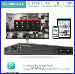 8CH 4K NVR PoE IP Security Camera System Kit with 2TB HDD and 8 Dome Cameras