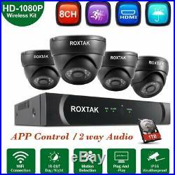 8CH NVR 4X 3000TVL Night Vision IP 4MP Dome Camera H. 265 CCTV SYSTEM 1TB LQ