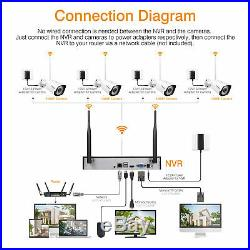 8CH Wireless 1080P DVR Outdoor 1080P IP Camera CCTV Security System Kit 1TB HDD