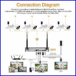 8CH Wireless CCTV 1080P DVR WiFi WLAN IP Camera 1TB HDD Security NVR System Kit
