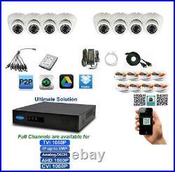 8Ch Tribrid TVI up to 5MP DVR 8x2.4MP 1080p Sony CMOS TVI 4in1 Cameras 2TB HDD