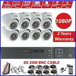 8Channel Home CCTV HD 2.4MP 1080P Night Vision Surveillance Security Cameras Kit