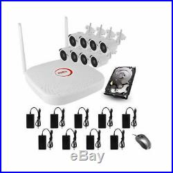 8 Channel 2.0MP HD WiFi NVR System Kit with 8 Camera's, 2TB Hard Disk, WiFi 300m